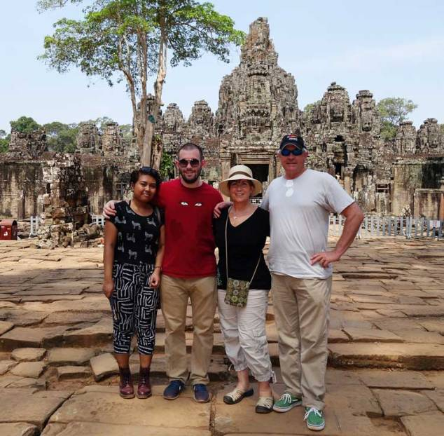 Tom and I with Ford and his girl Cirie at Angkor Wat in Cambodia. Easter Sunday 2014.